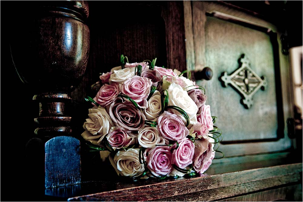 A vintage looking bouquet on a sideboard.  Photography Copyright © Mick House, All Rights Reserved