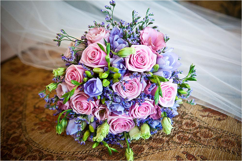 Lovely pastel coloured bridal bouquet.  Photography Copyright © Mick House, All Rights Reserved