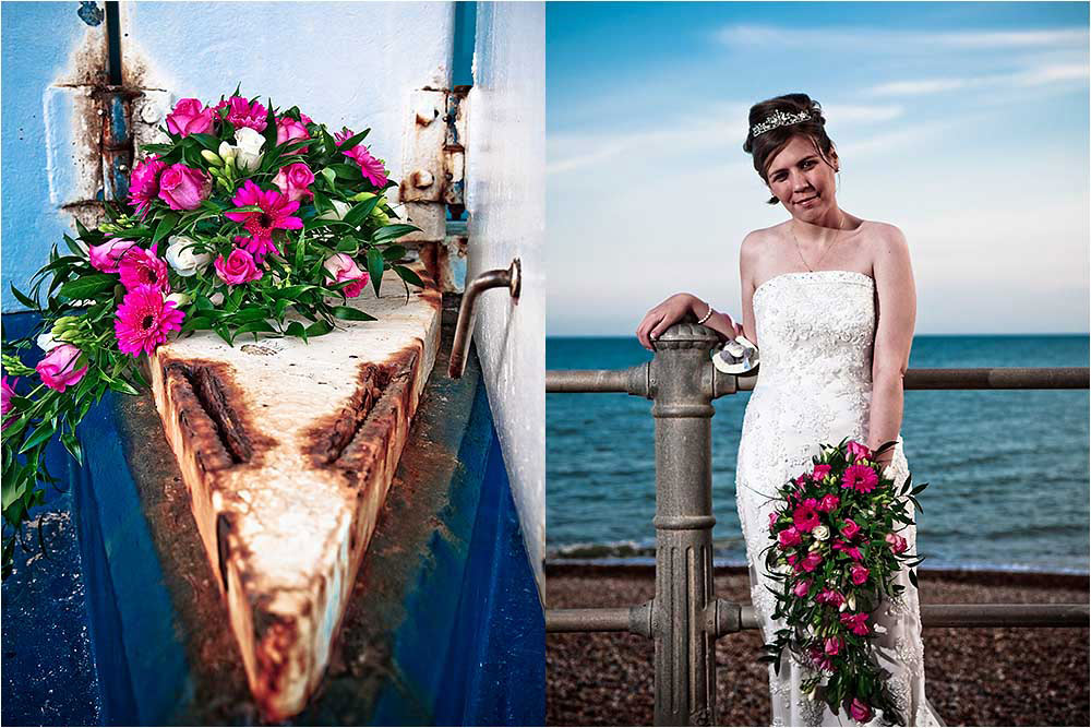 The bridal bouquet and the bride on St Leonards seafront