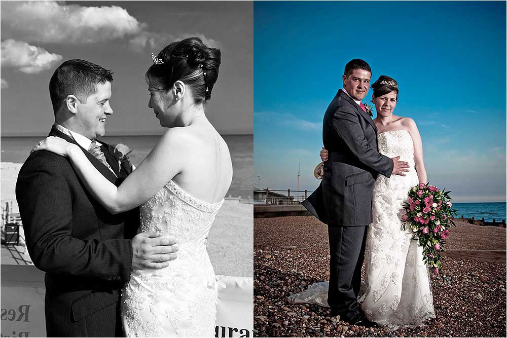 Two photographs of the bride and groom holding eachother