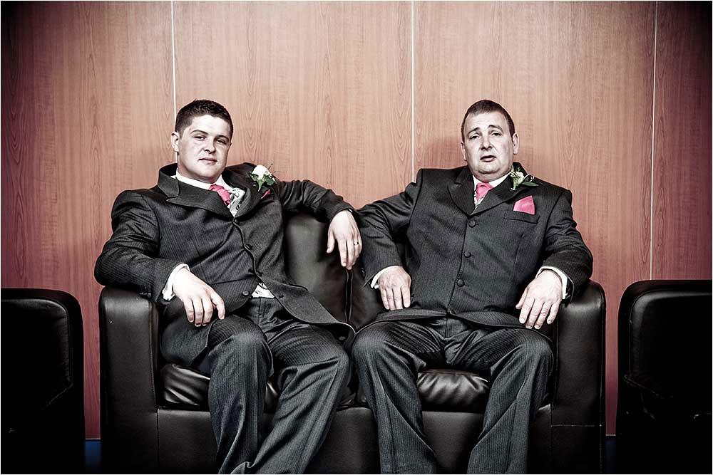 Comical photograph of the groom and his best man