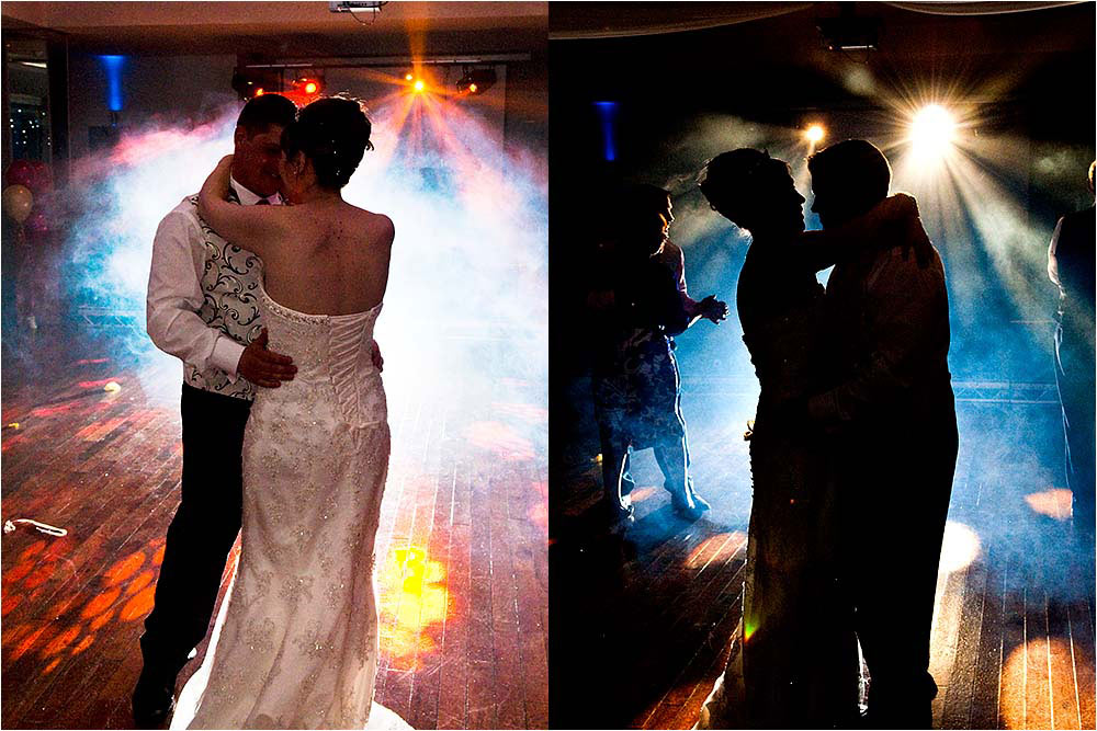 Suzanne and Phil have their first dance surrrounded by special effects smoke