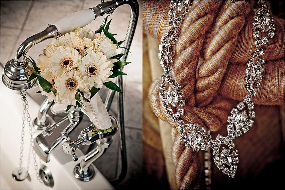 Detail shots of the bridal bouquet balanced on some bath taps and the brides necklace on curtain tie backs
