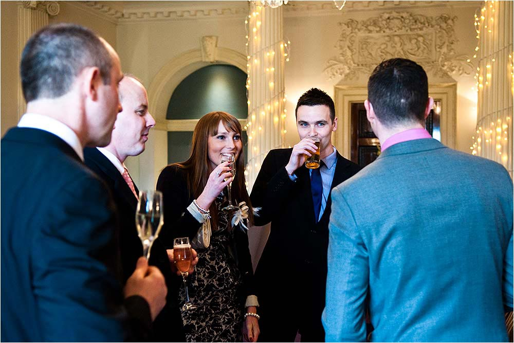 Guests relaxing during the drinks reception
