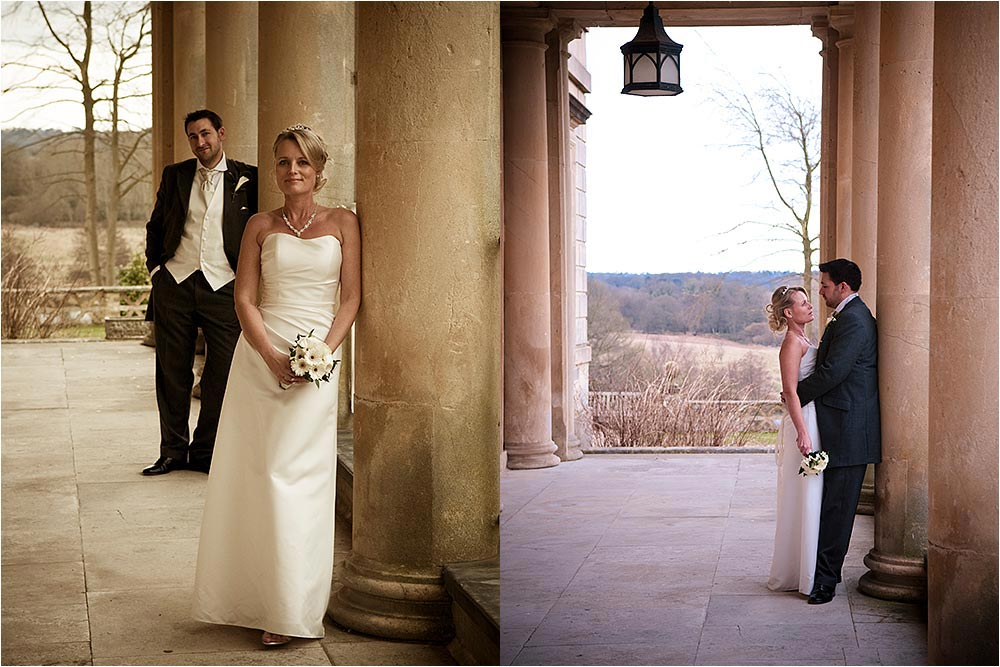 Romantic photographs by the terrace pillars at Buxted Park
