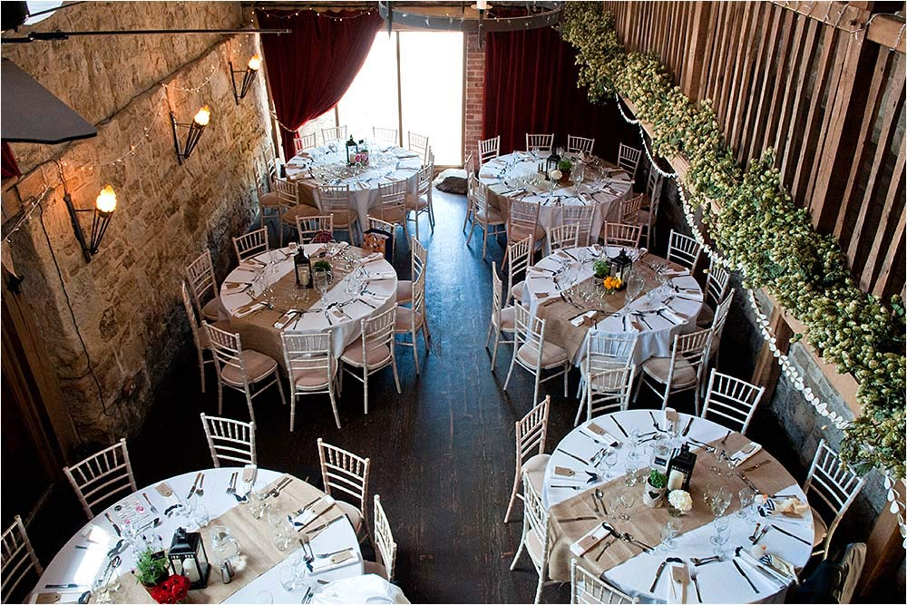 Overhead view of the tables set up inside the barn