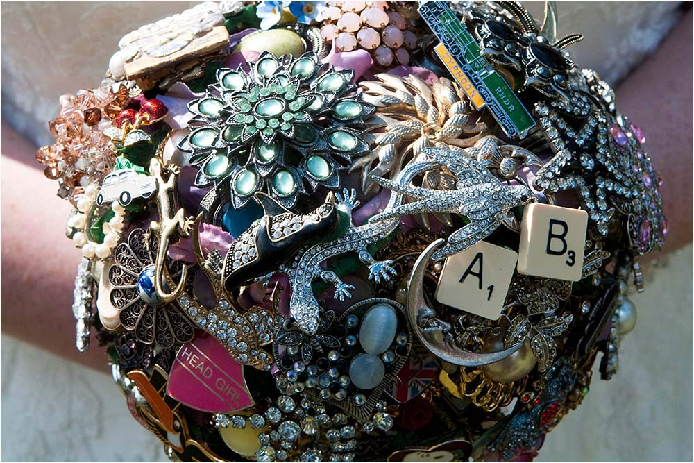 An amazing bouquet made from vintage jewellery