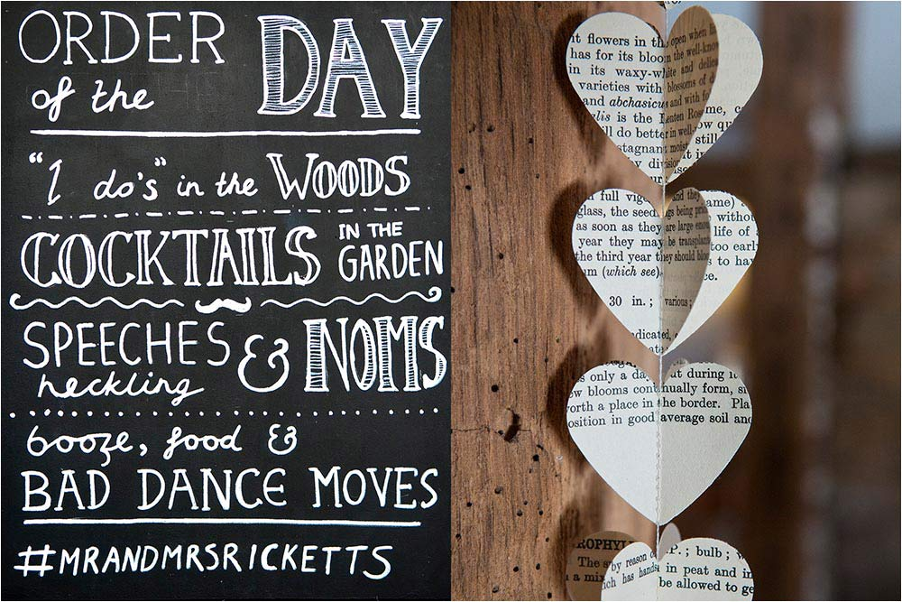 An order of the day plan on a chalk blackboard with heart shapes cut out from a book