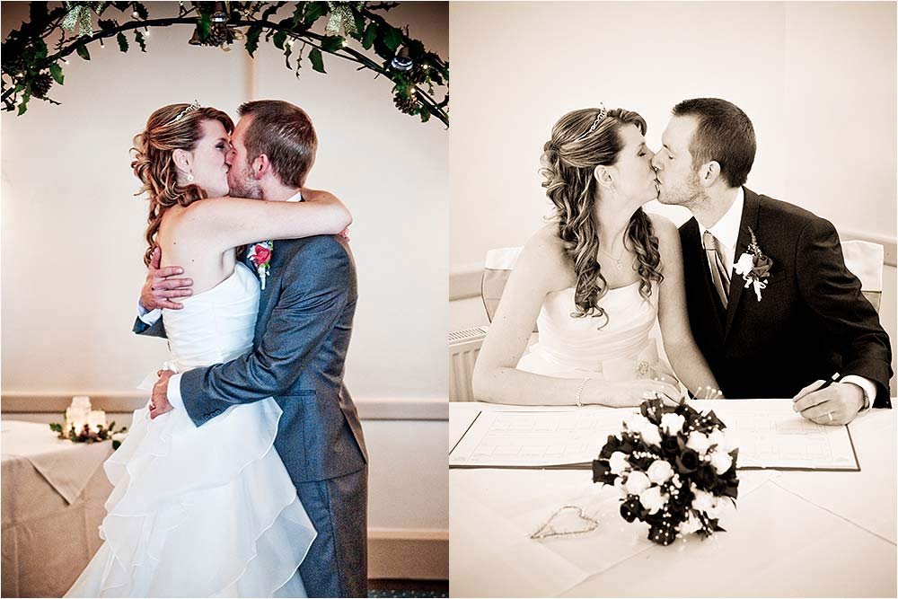 Kissing after the ceremony and during the signing of the register