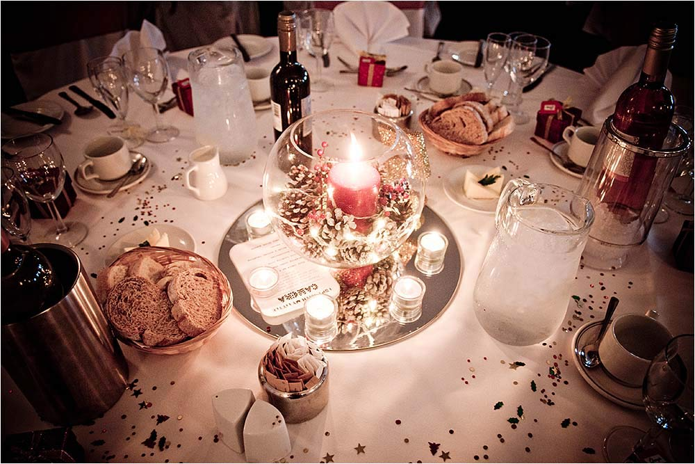 Detail shot of one of the guest tables showing the candle lit centre piece